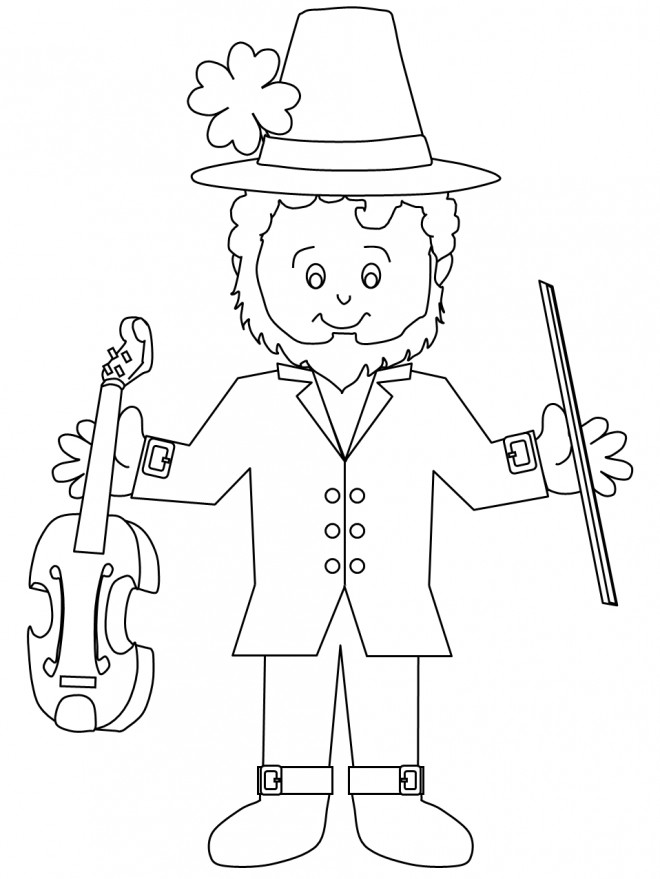 Coloriage et dessins gratuits Saint-Patrick musicien à imprimer