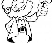 Coloriage et dessins gratuit Saint-Patrick portant trèfle à imprimer