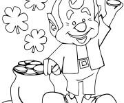 Coloriage Saint-Patrick porte une pièce d'or dans sa main