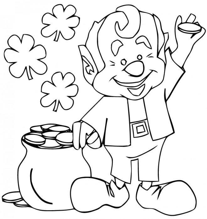 Coloriage et dessins gratuits Saint-Patrick porte une pièce d'or dans sa main à imprimer