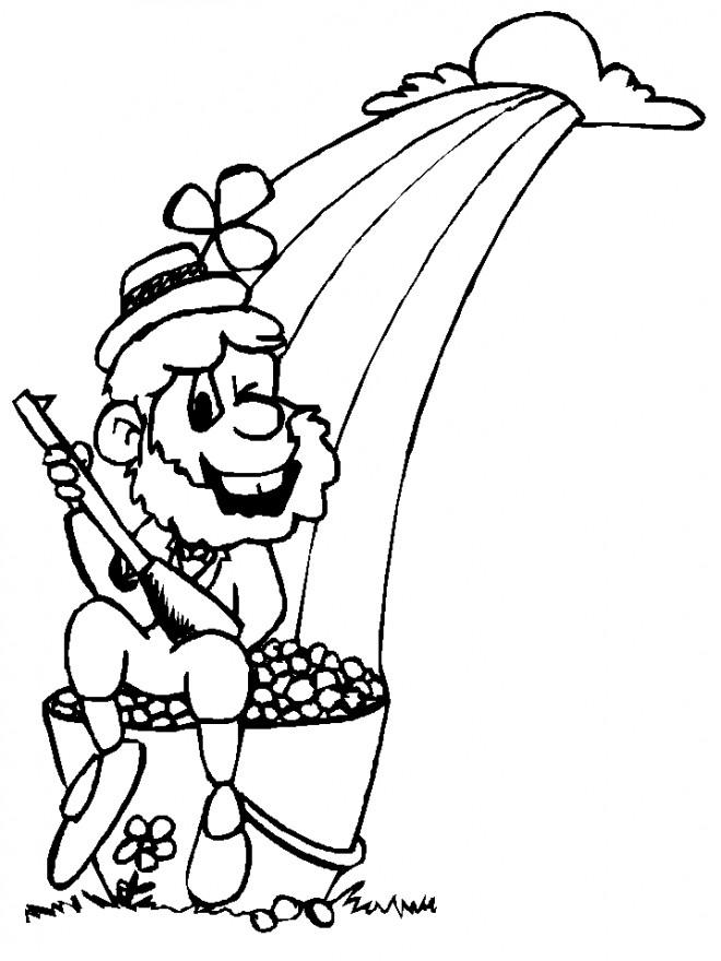 Coloriage et dessins gratuits Saint-Patrick sur arc en ciel à imprimer
