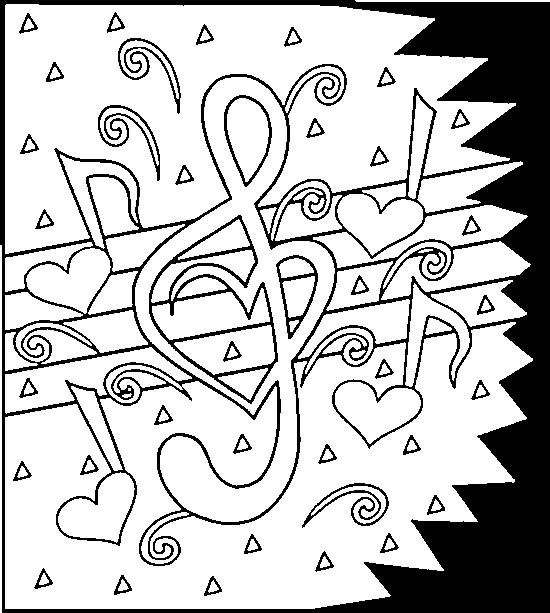 Coloriage St-Valentin Musique dessin gratuit à imprimer