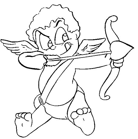 Coloriage et dessins gratuits Ange d'amour avec son arc et ses Flèches à imprimer
