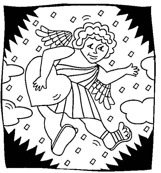 Coloriage et dessins gratuits Ange d'amour célèbre Le Saint Valentin à imprimer