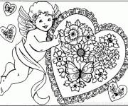 Coloriage Ange d'amour portant Un Coeur