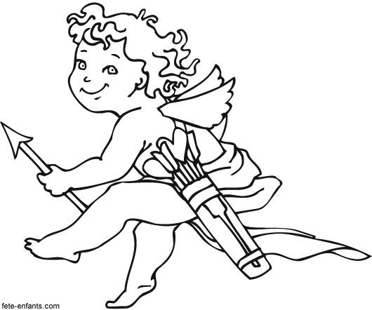 Coloriage et dessins gratuits Ange d'amour qui visite Les Amoureux à imprimer