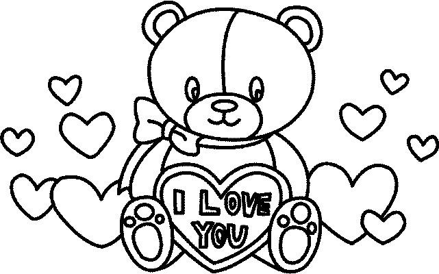 Coloriage et dessins gratuits Cadeau Peluche de St-Valentin à imprimer