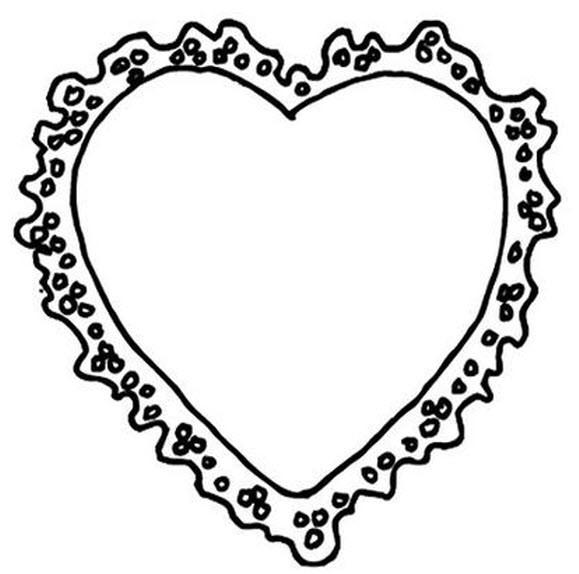 Coloriage et dessins gratuits Cadre de Coeur de Saint Valentin à imprimer