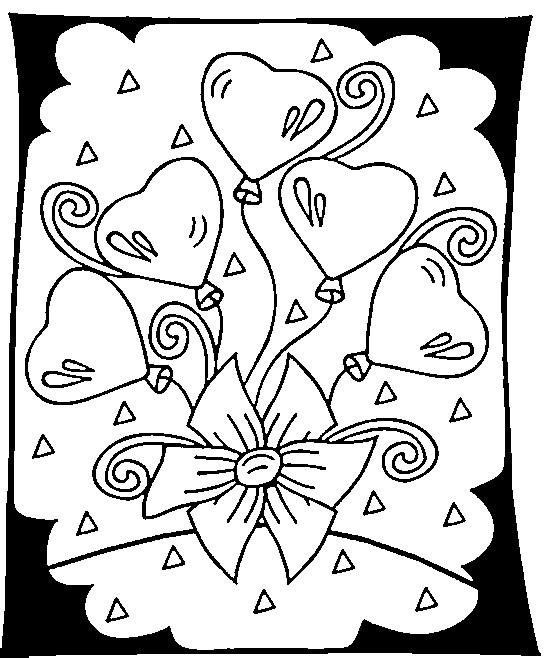 Coloriage et dessins gratuits Carte de vœux St-Valentin à imprimer