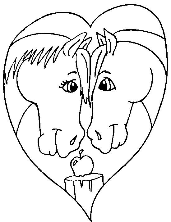 Coloriage chevaux et coeur d 39 amour dessin gratuit imprimer - Coloriage de coeurs ...