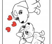 Coloriage Chien et Amour à colorier
