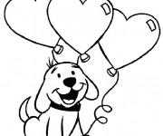 Coloriage et dessins gratuit Chien porte des Ballons  pour St-Valentin à imprimer