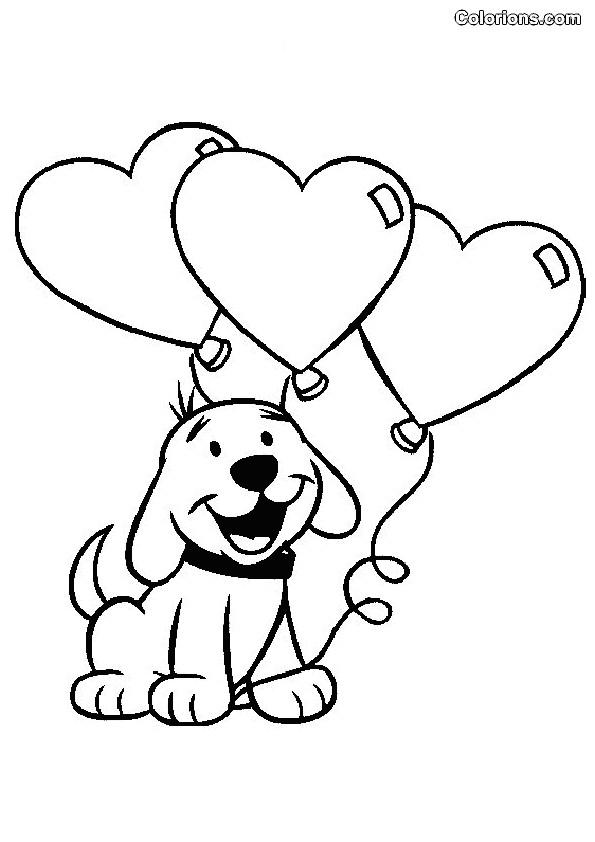 Coloriage et dessins gratuits Chien porte des Ballons  pour St-Valentin à imprimer