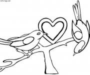 Coloriage et dessins gratuit Coeur d'amour et des Oiseaux à imprimer