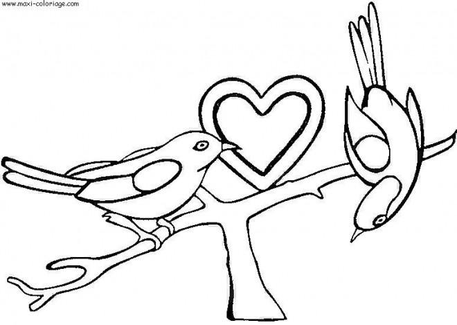Coloriage et dessins gratuits Coeur d'amour et des Oiseaux à imprimer