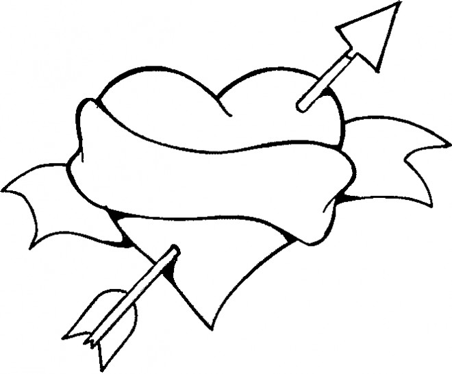 Coloriage Coeur D Amour Et Flèche Couleur Dessin Gratuit à