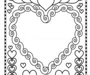 Coloriage et dessins gratuit Coeur d'amour St-Valentin à imprimer