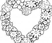 Coloriage Coeur décoré avec des Fleurs
