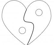 Coloriage Coeur et Paix pour St-Valentin