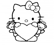 Coloriage Coeur porté par Hello Kitty
