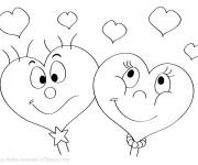 Coloriage Coeurs de St-Valentin en amour