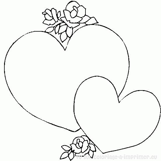 Coloriage Coeurs Faciles Pour Les Amoureux Dessin Gratuit à