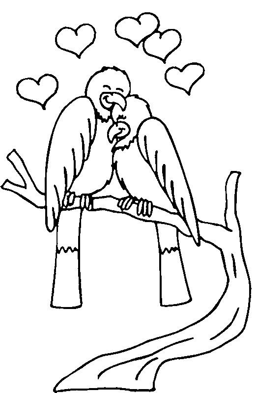 Coloriage et dessins gratuits Couple d'Oiseaux en amour à imprimer