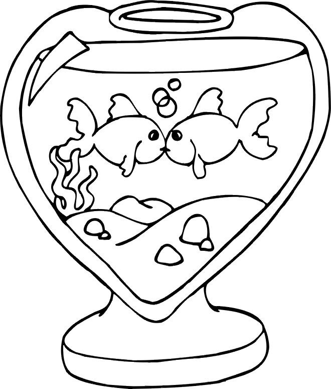 Coloriage et dessins gratuits Des Poissons Amoureux à imprimer