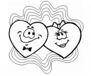 Coloriage Deux Coeurs d'amour souriant