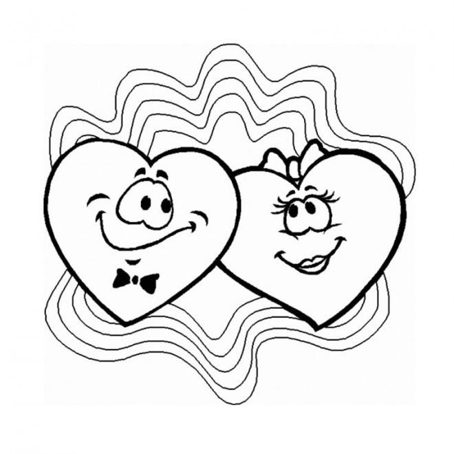 Coloriage et dessins gratuits Deux Coeurs d'amour souriant à imprimer