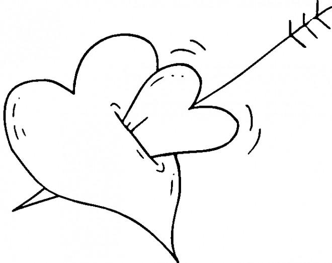 Coloriage et dessins gratuits Flèche d'amour qui brise Le Coeur à imprimer