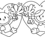 Coloriage Garçon et Fille en Coeurs pour St-Valentin