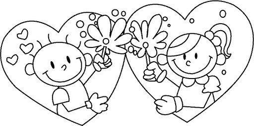 Coloriage et dessins gratuits Garçon et Fille en Coeurs pour St-Valentin à imprimer