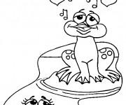 Coloriage Grenouille amoureuse qui chante