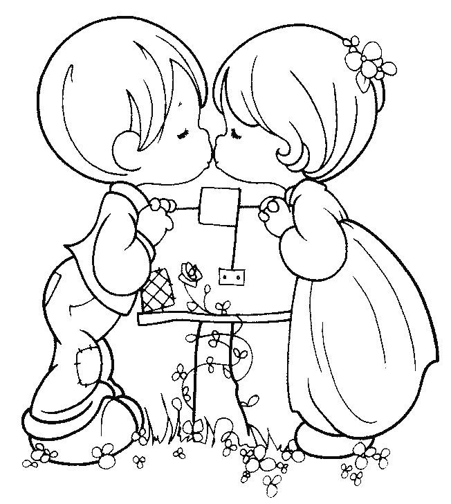 Coloriage et dessins gratuits Innocence et St-Valentin couleur à imprimer