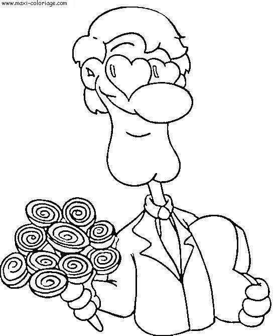 Coloriage et dessins gratuits Lamoureux porte un Bouquet de Fleurs à imprimer
