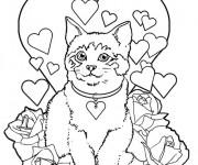 Coloriage Le Chat en carte de St-Valentin