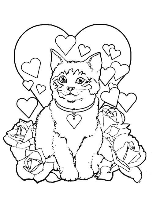 Coloriage Le Chat En Carte De St Valentin Dessin Gratuit A Imprimer