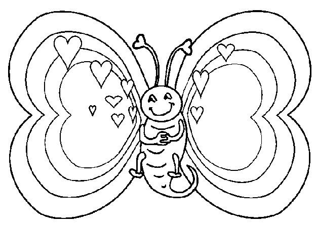 Coloriage et dessins gratuits Le Papillon semble amoureux à imprimer