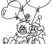 Coloriage Les Clowns et Le St-Valentin