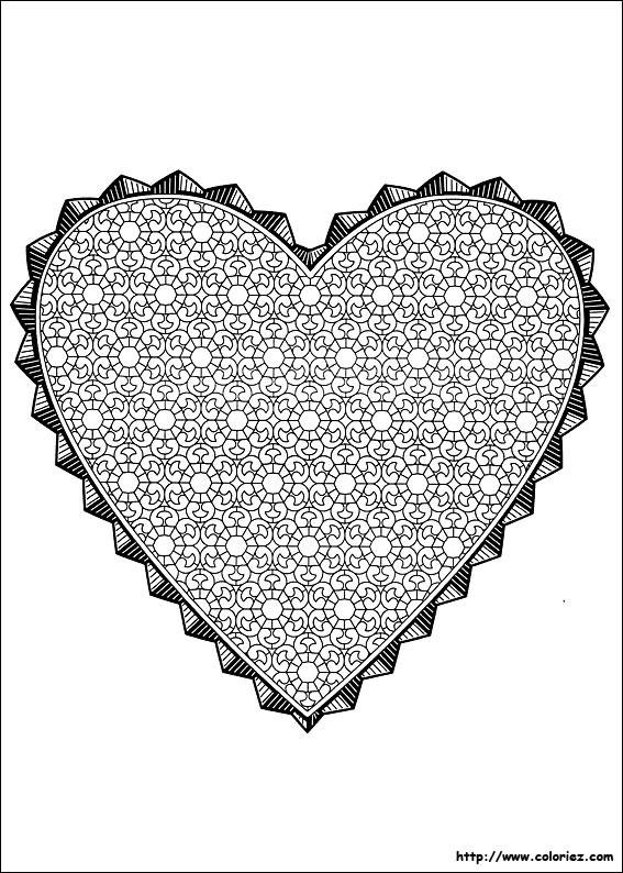 Coloriage et dessins gratuits Mandala St-Valentin à imprimer