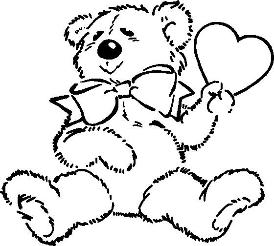 Coloriage et dessins gratuits Ourson St-Valentin en Ligne à imprimer