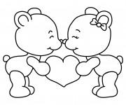 Coloriage Oursons mignons  portant Un Coeur d'amour