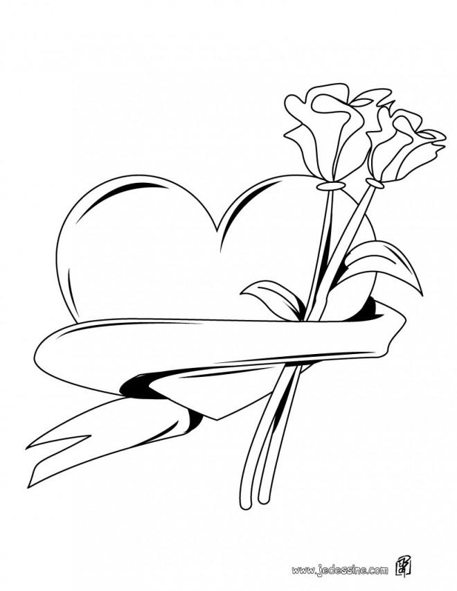 Coloriage et dessins gratuits Rose de Saint Valentin à imprimer