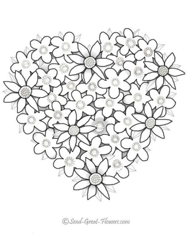 Coloriage et dessins gratuits Roses Saint-Valentin à imprimer