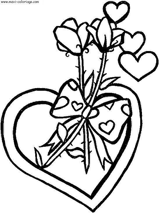 Coloriage et dessins gratuits St-Valentin Amour à imprimer