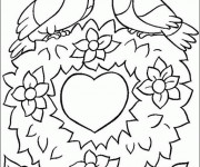 Coloriage et dessins gratuit St-Valentin Coeur d'amour à imprimer
