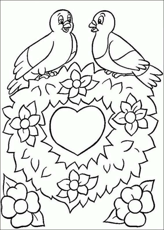 Coloriage et dessins gratuits St-Valentin Coeur d'amour à imprimer