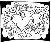Coloriage St-Valentin Coeurs