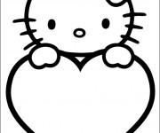 Coloriage et dessins gratuit St-Valentin Hello Kitty à imprimer
